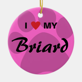 I Love (Heart) My Briard Pawprint Round Ceramic Decoration