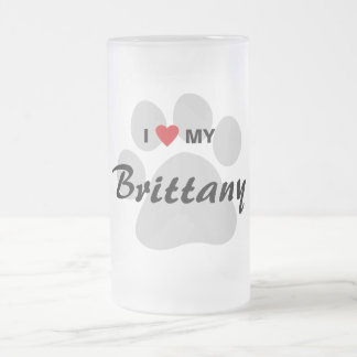 I Love (Heart) My Brittany Pawprint Frosted Glass Mug