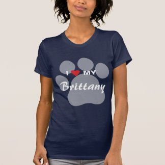 I Love (Heart) My Brittany Pawprint T-Shirt