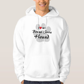 I Love (Heart) My Bruno Jura Hound Dog Lovers Hooded Pullover