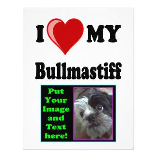 I Love (Heart) My Bullmastiff Dog 21.5 Cm X 28 Cm Flyer