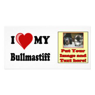 I Love (Heart) My Bullmastiff Dog Photo Greeting Card