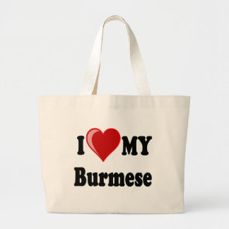 I Love (Heart) My Burmese Cat Tote Bags