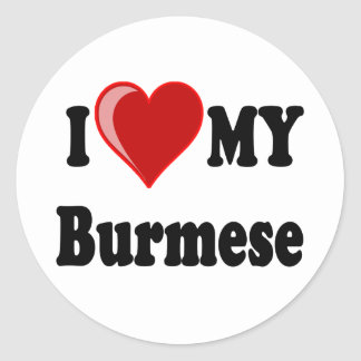 I Love (Heart) My Burmese Cat Classic Round Sticker