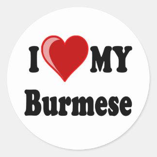 I Love (Heart) My Burmese Cat Round Sticker