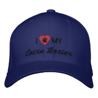 I Love (Heart) My Cairn Terrier Pawprint Embroidered Hats