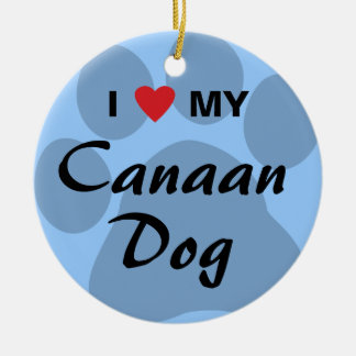 I Love (Heart) My Canaan Dog Round Ceramic Decoration