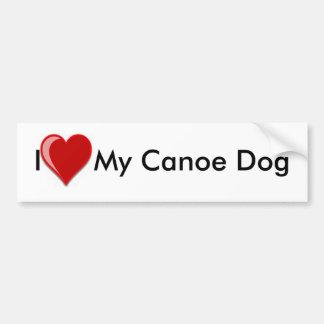 I Love (Heart) My Canoe Dog Bumper Sticker