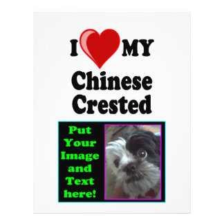 I Love (Heart) My Chinese Crested Dog 21.5 Cm X 28 Cm Flyer