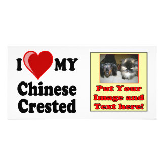 I Love Heart My Chinese Crested Dog Photo Card