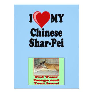 I Love (Heart) My Chinese Shar-Pei Dog 21.5 Cm X 28 Cm Flyer