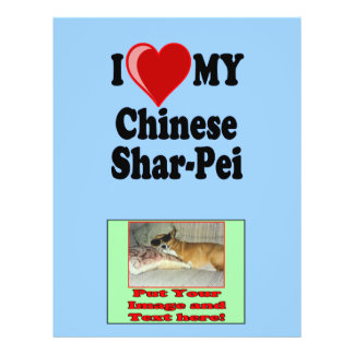 I Love (Heart) My Chinese Shar-Pei Dog 21.5 Cm X 28 Cm Flyer