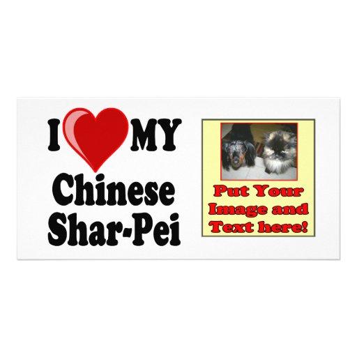 I Love (Heart) My Chinese Shar-Pei Dog Photo Card