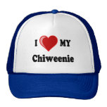 I Love (Heart) My Chiweenie Dog Cap