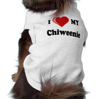 I Love (Heart) My Chiweenie Dog Sleeveless Dog Shirt