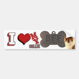 I LOVE HEART MY COLLIE DOGTAG BFF BUMPER STICKER