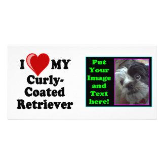 I Love Heart My Curly-Coated Retriever Dog Photo Card Template