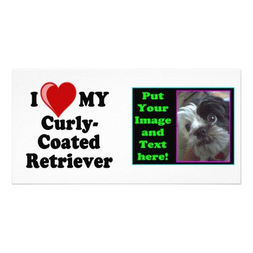 I Love (Heart) My Curly-Coated Retriever Dog Photo Card Template