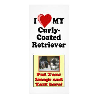 I Love (Heart) My Curly-Coated Retriever Dog Rack Card