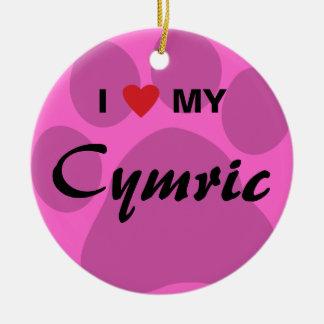 I Love (Heart) My Cymric Cat Pawprint Design Round Ceramic Decoration
