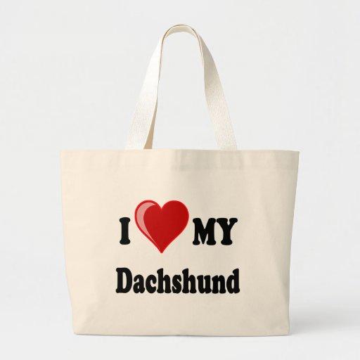 I Love (Heart) My Dachshund Dog Tote Bags