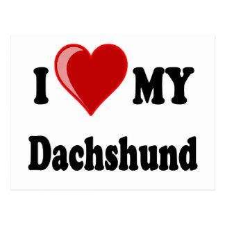 I Love (Heart) My Dachshund Dog Postcard