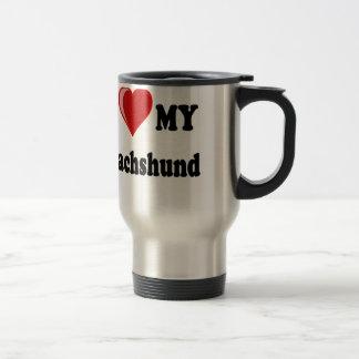 I Love (Heart) My Dachshund Dog Stainless Steel Travel Mug