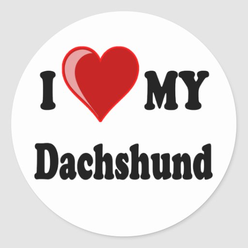 I Love (Heart) My Dachshund Dog Stickers