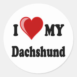 I Love (Heart) My Dachshund Dog Round Sticker