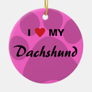 I Love (Heart) My Dachshund Pawprint Christmas Ornament