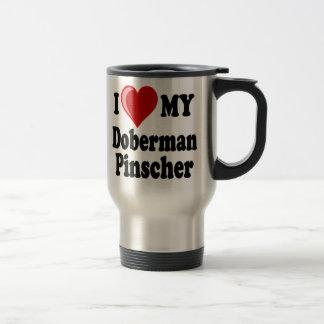 I Love (Heart) My Doberman Pinscher Dog Travel Mug