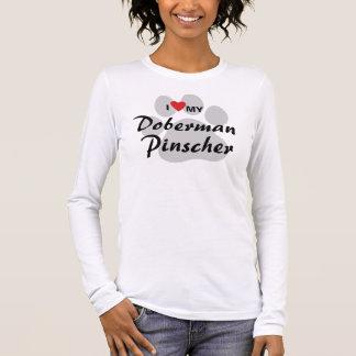 I Love (Heart) My Doberman Pinscher Pawprint Long Sleeve T-Shirt