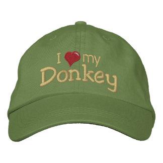 I love (heart) my Donkey Embroidered Baseball Caps