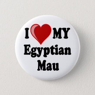 I Love (Heart) My Egyptian Mau Cat 6 Cm Round Badge