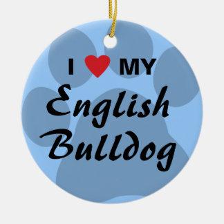 I Love (Heart) My English Bulldog Pawprint Christmas Ornament