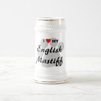 I Love (Heart) My English Mastiff Pawprint Beer Steins