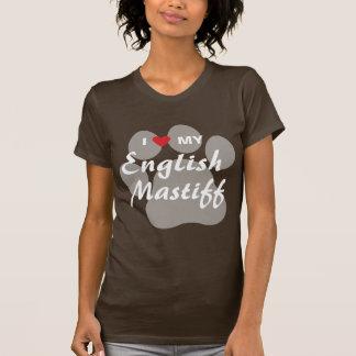I Love (Heart) My English Mastiff Pawprint T-Shirt