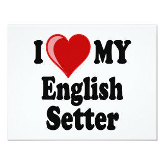 I Love (Heart) My English Setter Dog 11 Cm X 14 Cm Invitation Card
