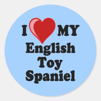 I Love (Heart) My English Toy Spaniel Dog Round Sticker