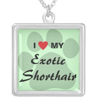 I Love (Heart) My Exotic Shorthair Pawprint Design Pendants