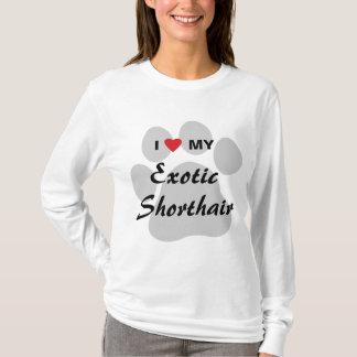 I Love (Heart) My Exotic Shorthair Pawprint Design T-Shirt