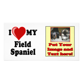 I Love (Heart) My Field Spaniel Dog Custom Photo Card