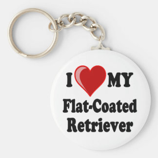 I Love (Heart) My Flat-Coated Retriever Dog Basic Round Button Key Ring