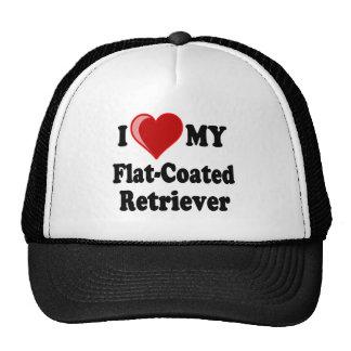 I Love (Heart) My Flat-Coated Retriever Dog Trucker Hats