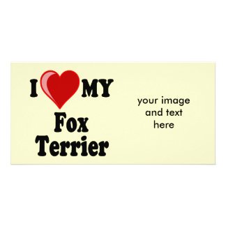 I Love Heart My Fox Terrier Dog Picture Card