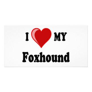 I Love Heart My Foxhound Dog Customized Photo Card