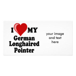 I Love Heart My German Longhaired Pointer Dog Custom Photo Card