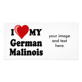 I Love (Heart) My German Malinois Dog Card Photo Card Template