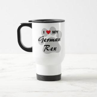 I Love (Heart) My German Rex Pawprint Design 15 Oz Stainless Steel Travel Mug