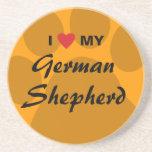 I Love (Heart) My German Shepherd Beverage Coasters